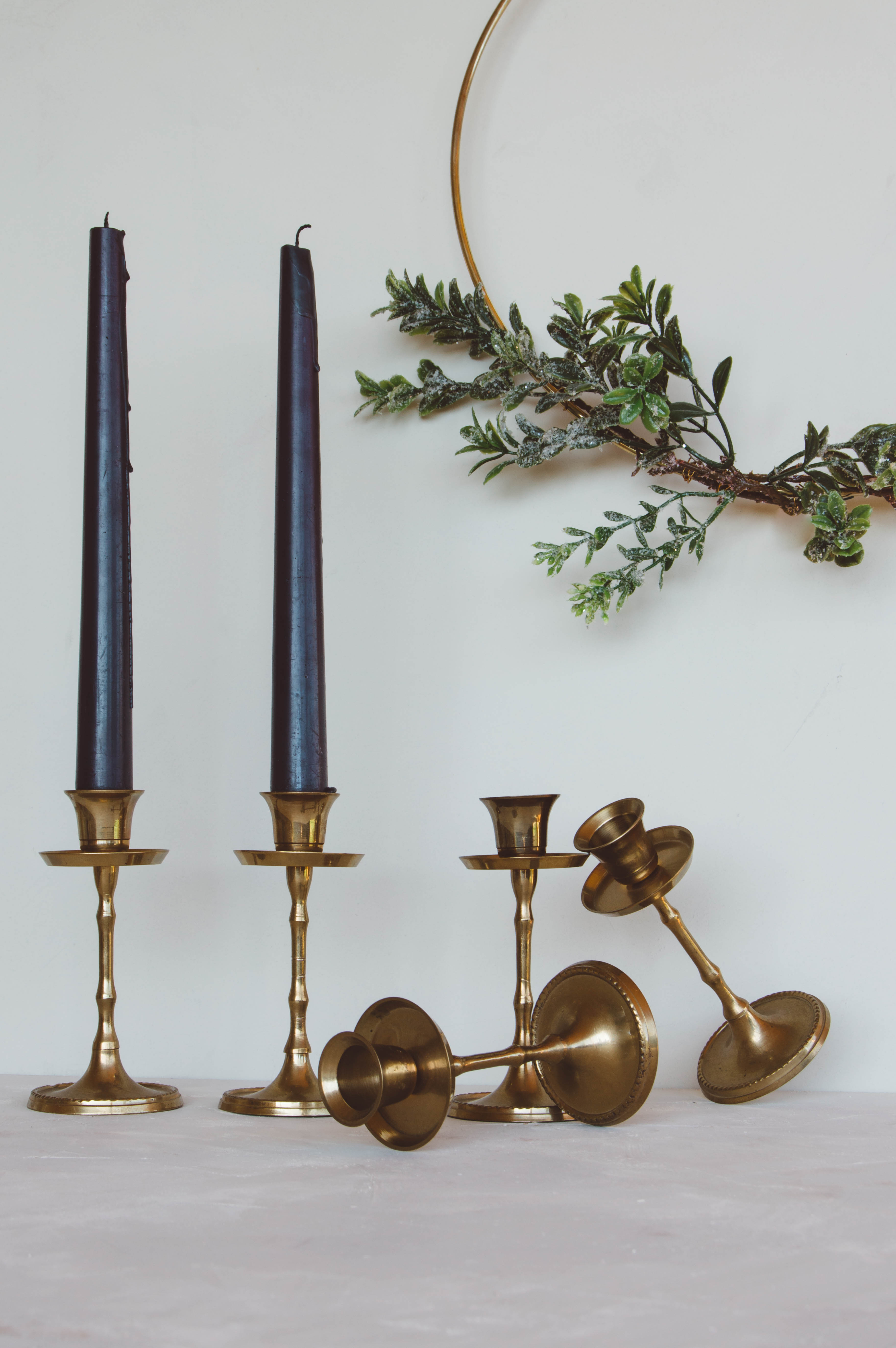 Brass candlestick holders, easy shop, vintage candleholders, faux bamboo candlestick holders
