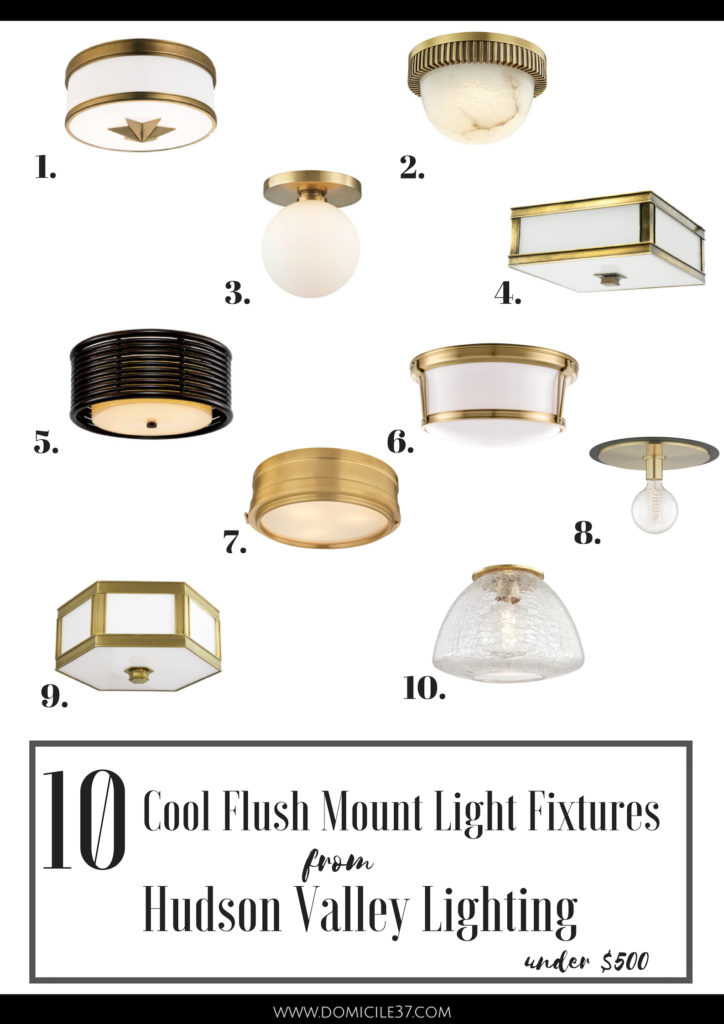 Hudson Valley Lighting Roundup, Cool Flush mount light fixtures, light fixtures for under $500, Brass light fixtures