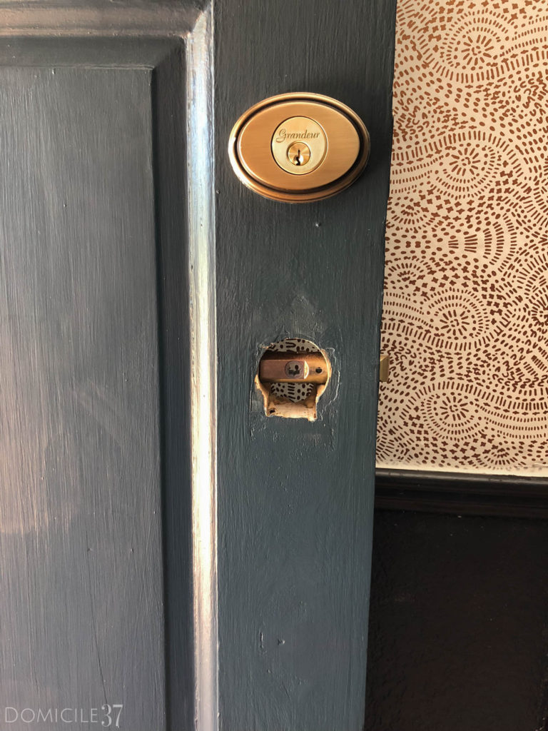 Repairing Antique door, patching doorknob