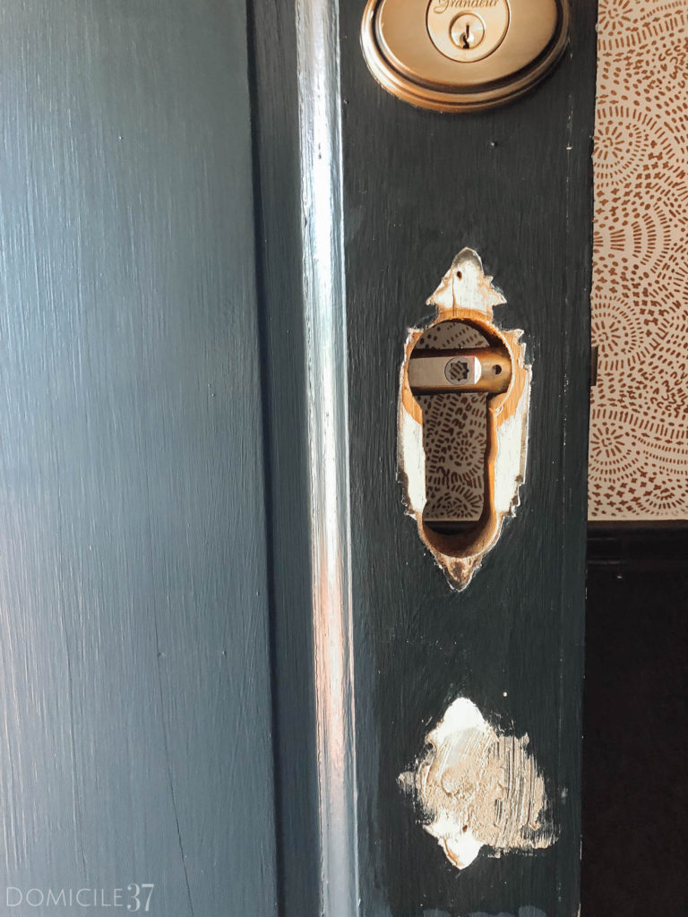 Front Door Makeover, Patching door hole