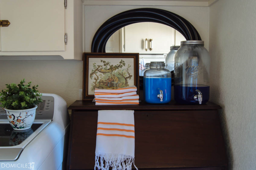 Laundry detergent dispensers,  Pretty laundry rooms, laundry room hand towels, hand towels,