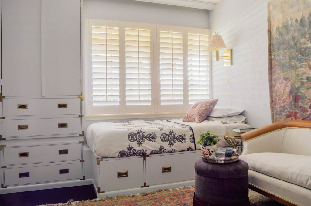 Campaign style daybed with drawers and builtin hutch