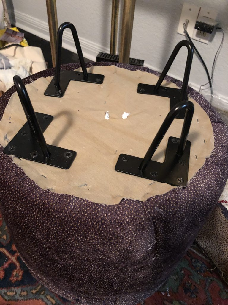 Attaching hairpin legs to stool