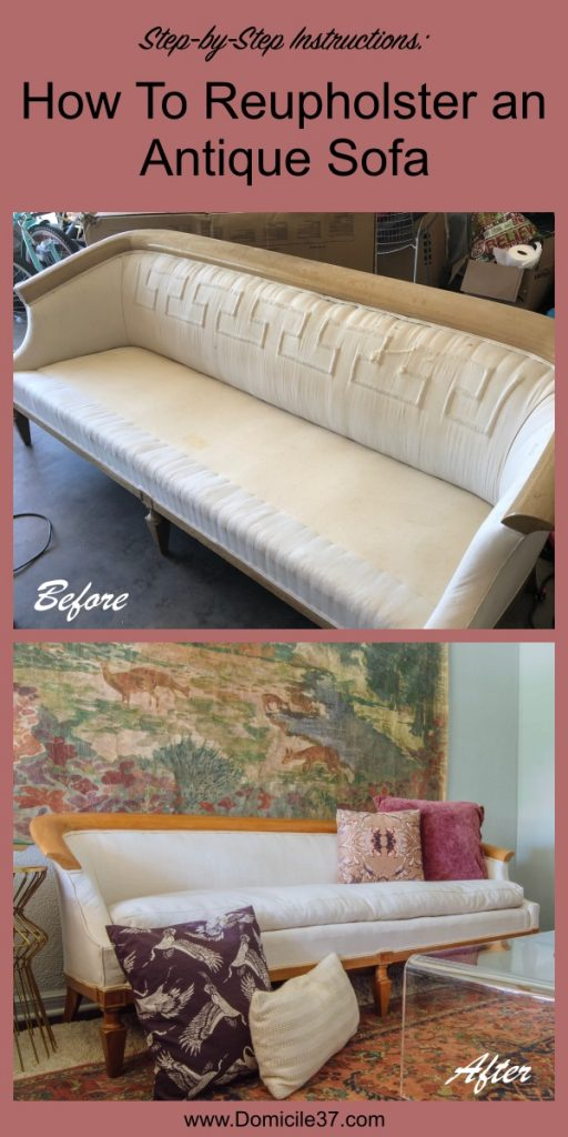 Before and After of reupholstered antique sofa