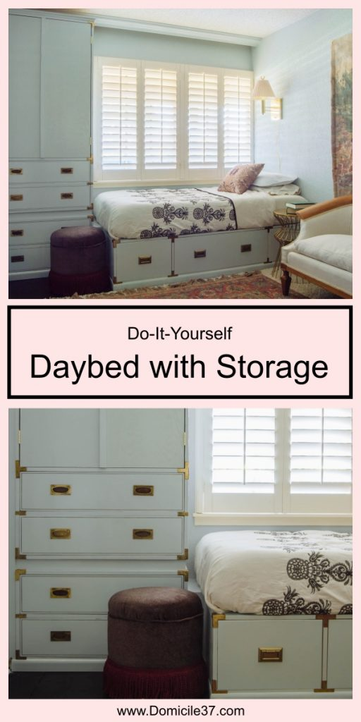 Styled DIY Campaign Style Daybed with Storage