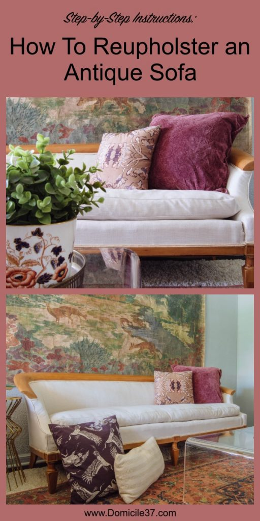 styled after shots of reupholstered antique sofa