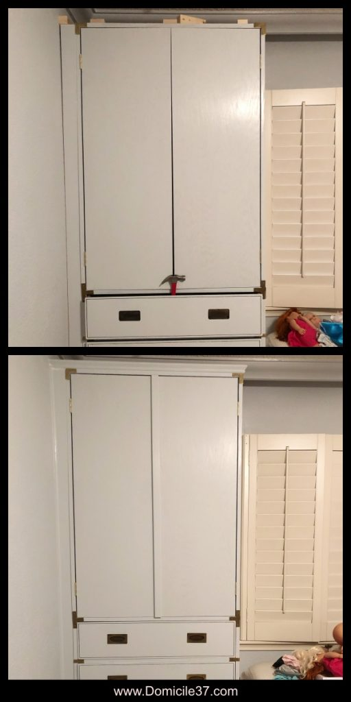 Build of semi-built-in cabinet with doors and fillers.