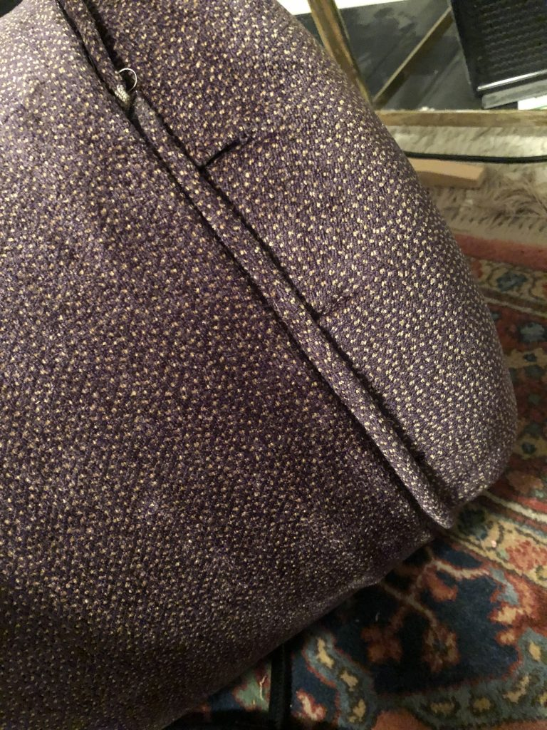 right side of velvet pattern and piping on stool