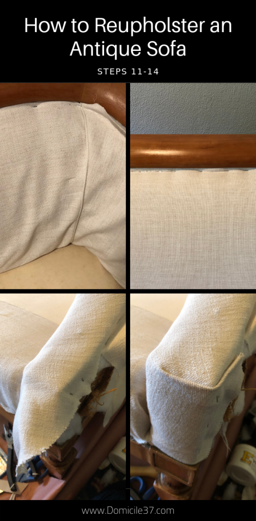 Steps 11-14 to reupholstering an antique sofa