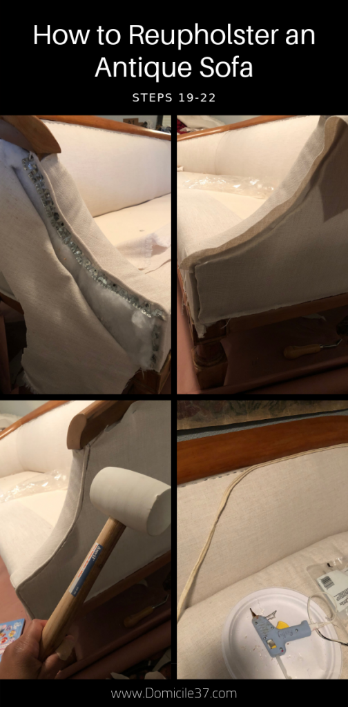 Steps 19-22 to reupholstering an antique sofa