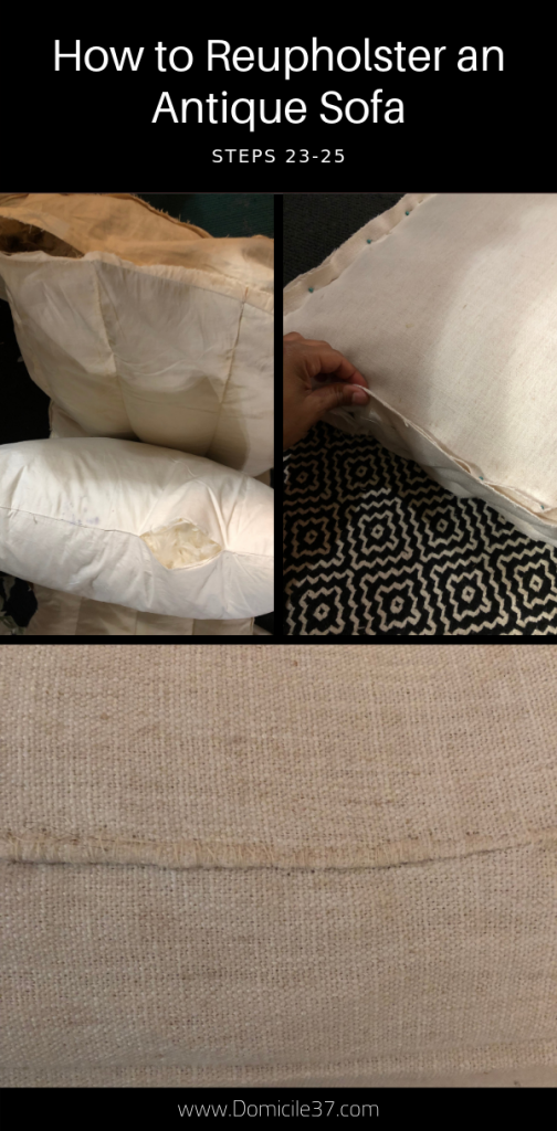 Steps 23-25 to reupholstering an antique sofa