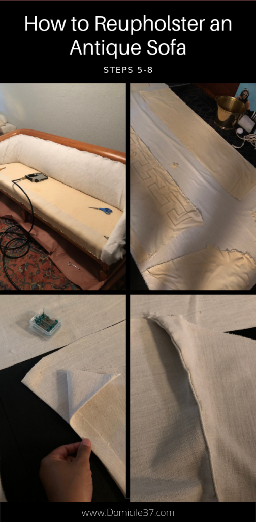 Steps 5-8 to reupholstering an antique sofa
