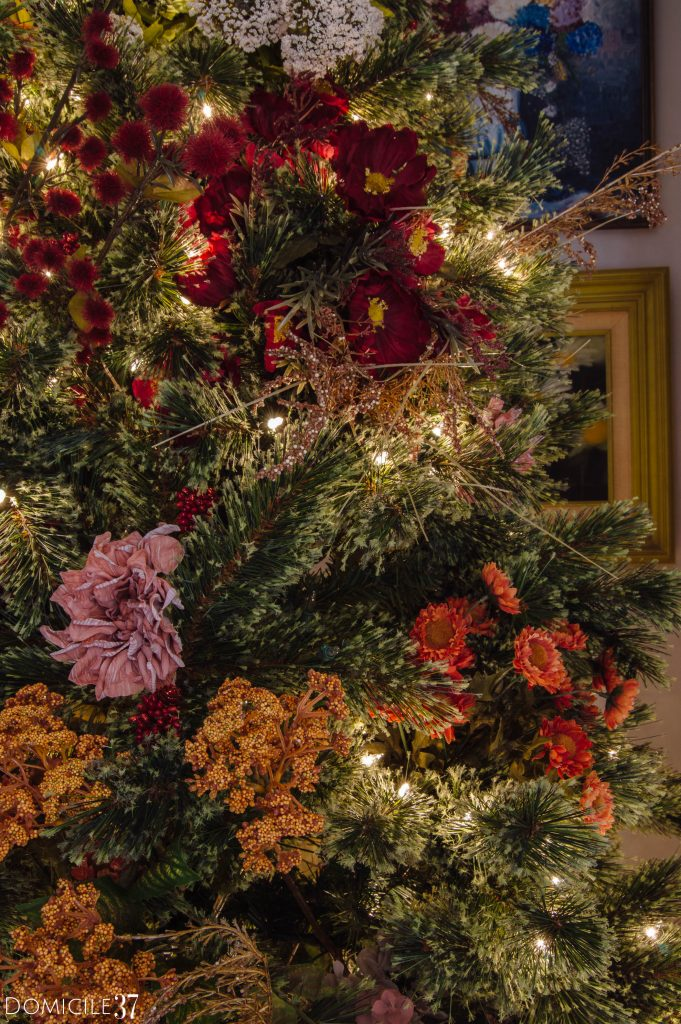 variety of Faux florals on Christmas Tree