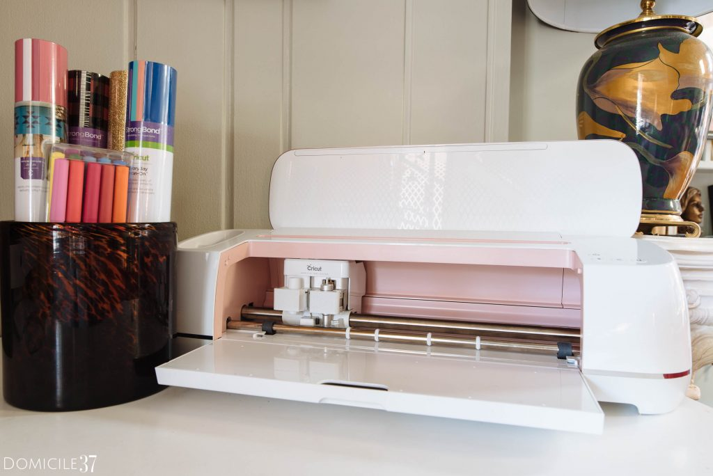 Pink Cricut Maker with Cricut tools