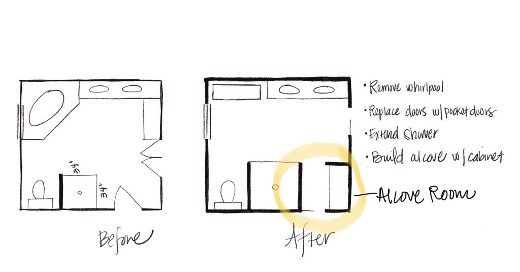 quick sketch before and after plans of bathroom