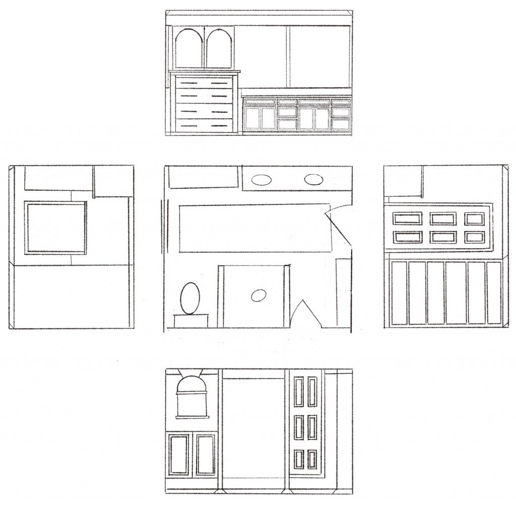 Bathroom floor plans and elevations