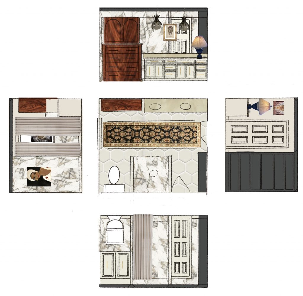 Final bathroom plans with elevations