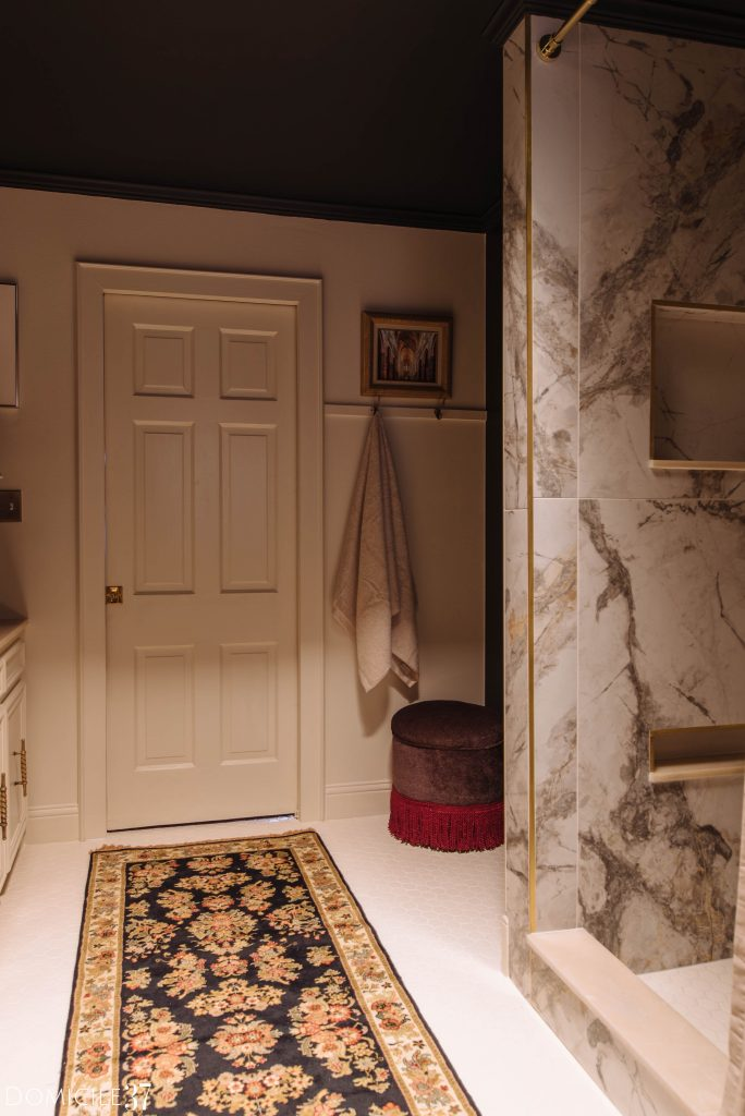 Bathroom shower walls with tile and edging