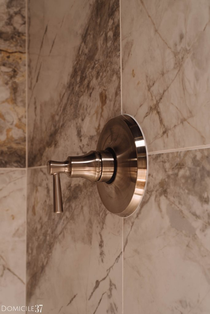 Hansgrohe brushed nickel shower faucet