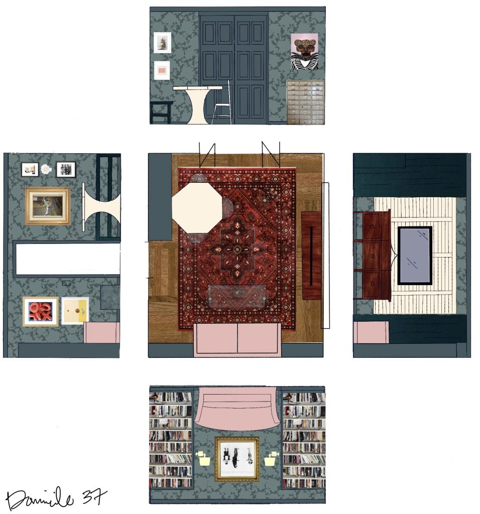 Tone on tone mood board and floor plan